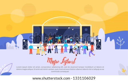 Music Festival Flat Vector Web Banner, Landing Page Template with Performing Rock Band, Musicians Playing Musical Compositions and Singing, Fans Having Fun and Dancing at Open Air Stage Illustration Сток-фото ©