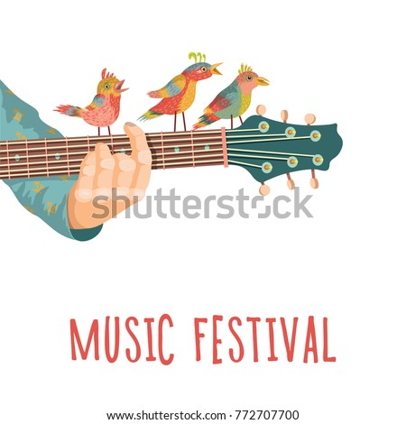 Music festival. Guitar with birds. Colorful music background. Vector illustration