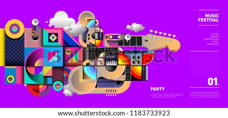 Music Festival Illustration Design for Party and Event. Vector Illustration Collage of Music for Background and Wallpaper in eps 10.