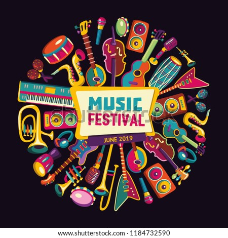 Music festival. Music instruments. Colorful music background. Vector illustration