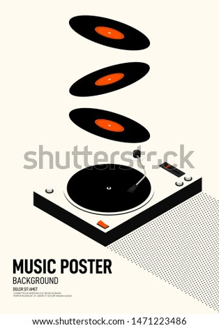 Music festival poster modern vintage retro style. Graphic design template can be used for background, backdrop, banner, brochure, leaflet, flyer, print, publication, vector illustration stock photo