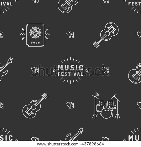 Music Festival seamless pattern thin line art minimal design. Icons: guitar, sound speaker, drum set, heart, note, star. White logos on a dark gray background Vector illustration