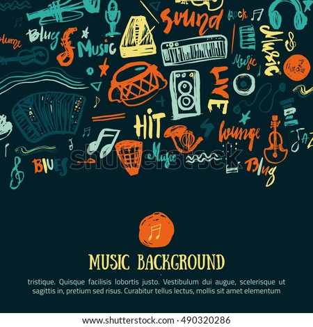 Music festival vector background. Can be used for printable concert promotion with lettering and doodle music items.