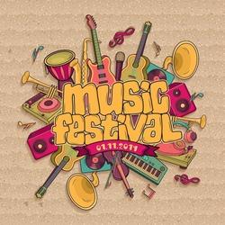 Music festival. Vector music background
