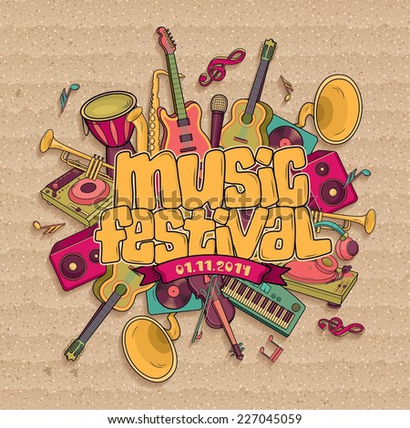 Music festival. Vector music background
