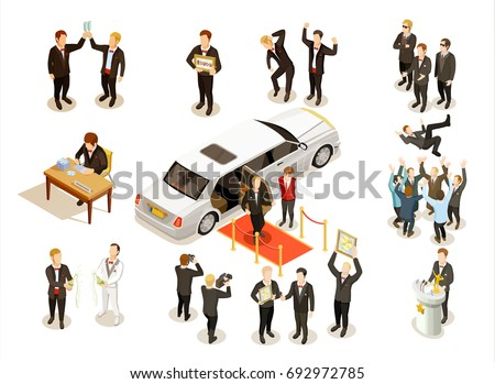 Music festival winner award ceremony with limousine red carpet money check presentation isometric icons composition vector illustration