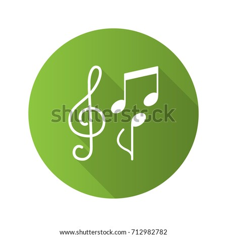 Music flat design long shadow glyph icon. Treble clef and musical notes. Vector silhouette illustration