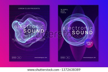 Music flyer. Bright show cover set. Dynamic gradient shape and line. Neon music flyer. Electro dance dj. Electronic sound fest. Techno trance party. Club event poster.