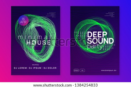 Music flyer. Digital show invitation set. Dynamic gradient shape and line. Neon music flyer. Electro dance dj. Electronic sound fest. Techno trance party. Club event poster.