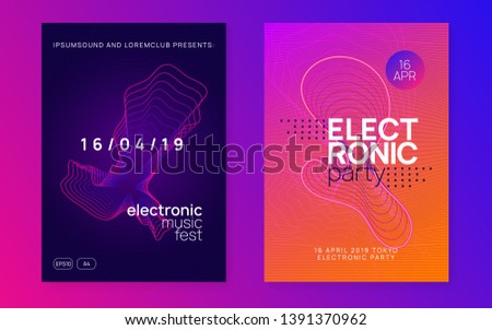 Music flyer. Dynamic fluid shape and line. Trendy discotheque brochure set. Neon music flyer. Electro dance dj. Electronic sound fest. Techno trance party. Club event poster.
