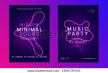 Music flyer. Dynamic gradient shape and line. Creative discotheque invitation set. Neon music flyer. Electro dance dj. Electronic sound fest. Techno trance party. Club event poster.