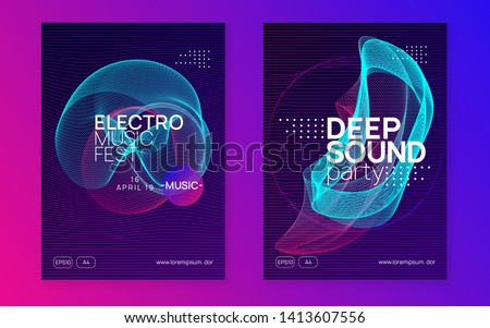 Music flyer. Dynamic gradient shape and line. Creative show brochure set. Neon music flyer. Electro dance dj. Electronic sound fest. Techno trance party. Club event poster.