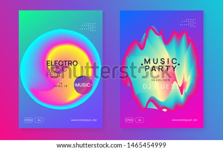 Music flyer set. Electronic sound. Night dance lifestyle holiday. Minimal electro event magazine layout. Fluid holographic gradient shape and line. Poster for summer fest and music flyer.