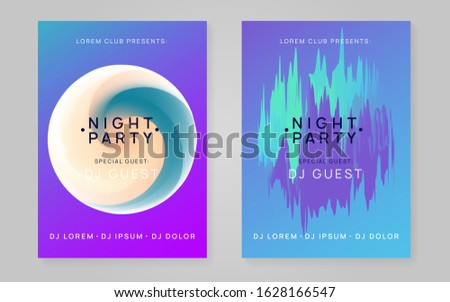Music flyer set. Fluid holographic gradient shape and line. Abstract techno event presentation template. Electronic sound. Night dance lifestyle holiday. Poster for summer fest and music flyer.