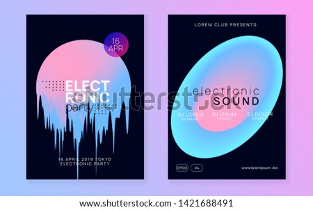 Music flyer set. Wavy electro event presentation design. Fluid holographic gradient shape and line. Electronic sound. Night dance lifestyle holiday. Poster for summer fest and music flyer.