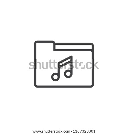Music folder outline icon. linear style sign for mobile concept and web design. Song archive simple line vector icon. Symbol, logo illustration. Pixel perfect vector graphics