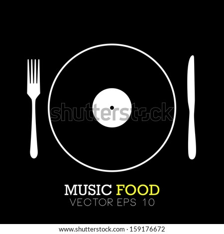 Music food icon concept in vector format