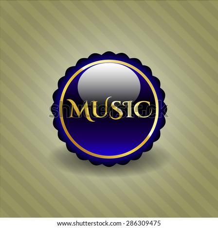 Music gold blue shiny emblem