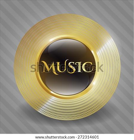 Music gold shiny badge