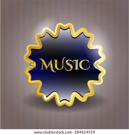 Music gold shiny emblem