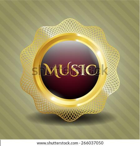 Music golden shiny badge