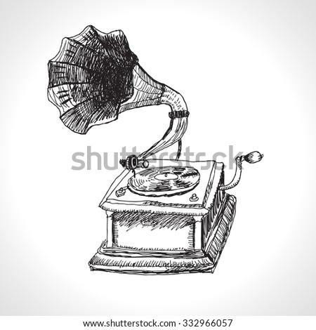 music gramophone hand drawing