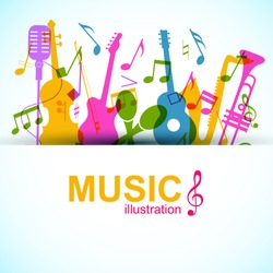 Music graphic template with colorful notes and musical instruments silhouettes on light background vector illustration