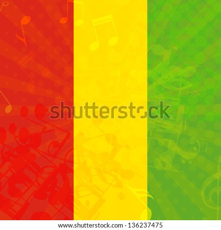 Music grunge background with flag of Ethiopia. Vector illustration.