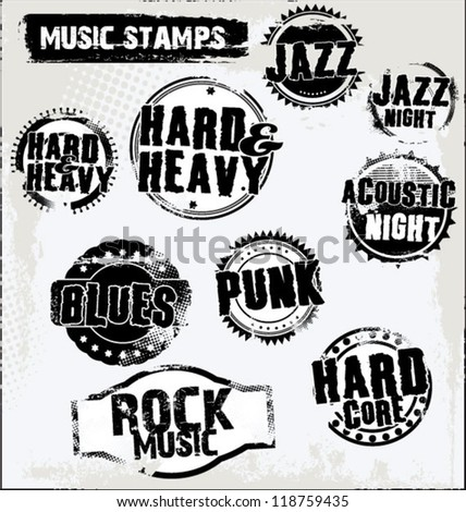 music grunge rubber stamps