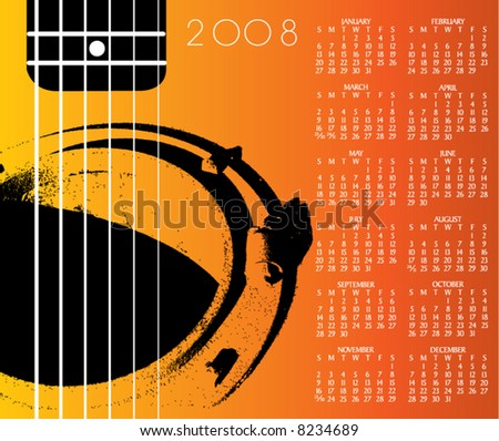 Music Guitar Calendar for 2008 With Space reserved for logo