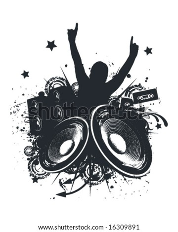 Music Hands Up Vector Illustration