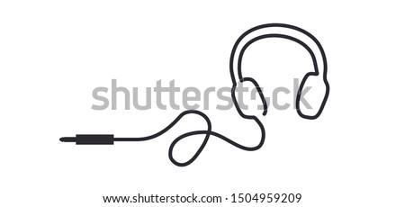 Music headphones Call center, Headset, line pattern Fun vector bell icon sign Headphone headphones earphone Listening to music tracks Contact help service desk sign  Head phone Call us