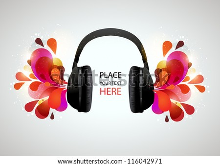 Music headphones on gray background. Vector illustration.