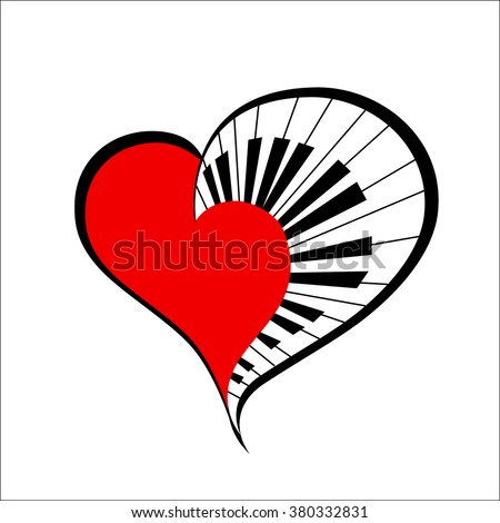 music heart with piano keys