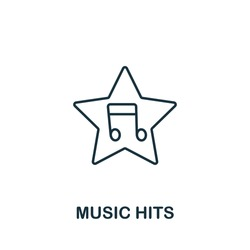 Music Hits icon from music collection. Simple line Music Hits icon for templates, web design and infographics