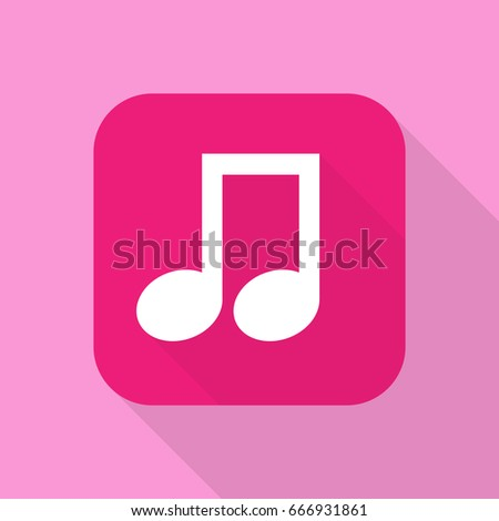 music icon for smart phone screen application vector flat design