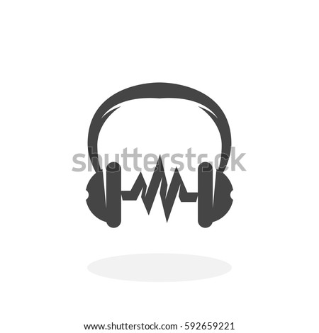 Music icon illustration isolated on white background sign symbol. Music vector logo. Headphones vector pictogram for web graphics - stock vector