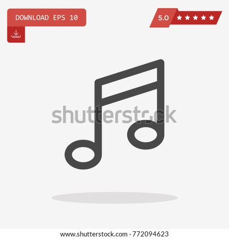 Music Icon in trendy flat style isolated on grey background.