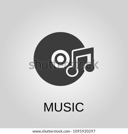 Music icon. Music symbol. Flat design. Stock - Vector illustration