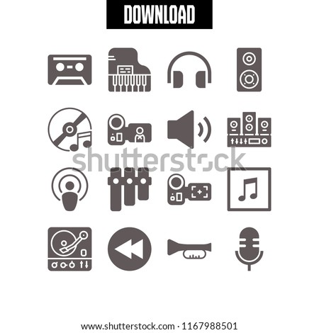 music icon. 16 music vector set. podcast, microphone, piano and xylophone icons for web and design about music theme