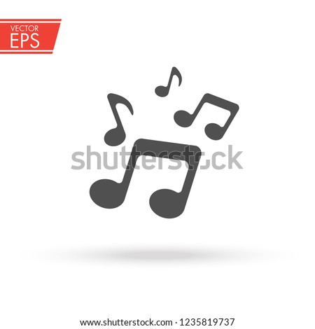 Music icon. Musical note symbol. Melody sign. Sound vector illustration. Audio sound media musical Design Elements From Music Staff.