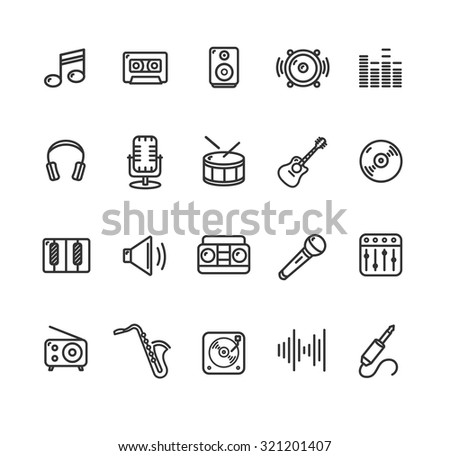 Music Icon Outline Set Black and White. Vector illustration