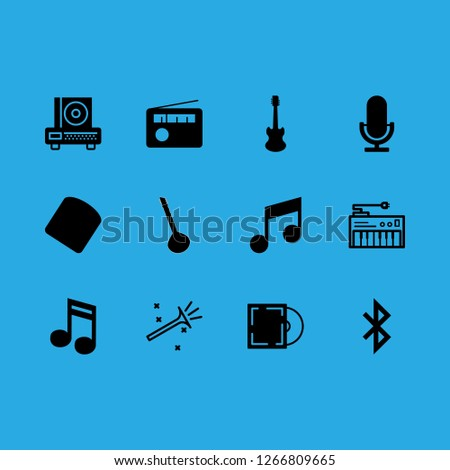 music icon set about guitar, synthesizer, microphone and trumpet vector set
