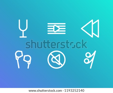Music icon set and backward with earphone, song note and melody list. Headphone related music icon vector for web UI logo design.