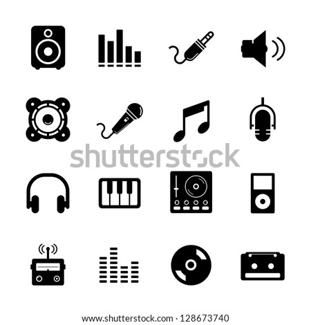 Music Icon set Black and White