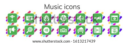 music icon set 14 filled music