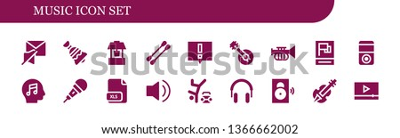 music icon set 18 filled music