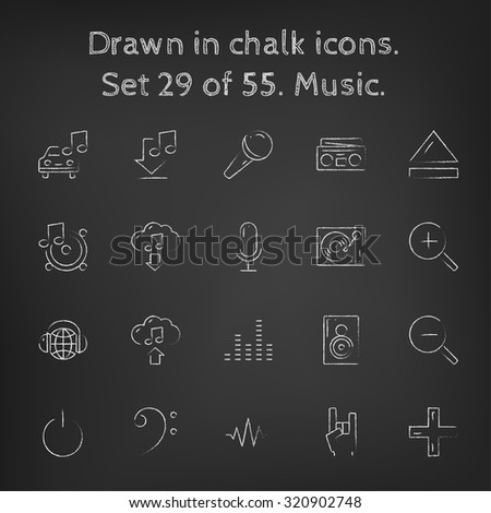 music icon set hand drawn in
