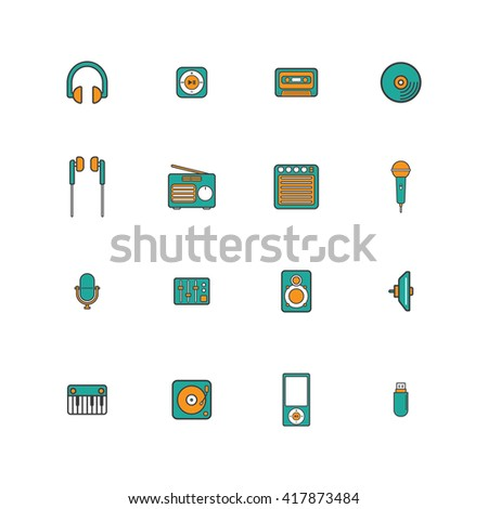 Music Icon Set In Colored Outline Style