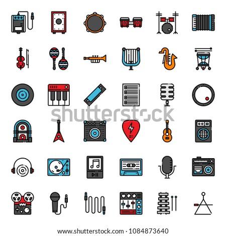 music icon set, isolated on white background
